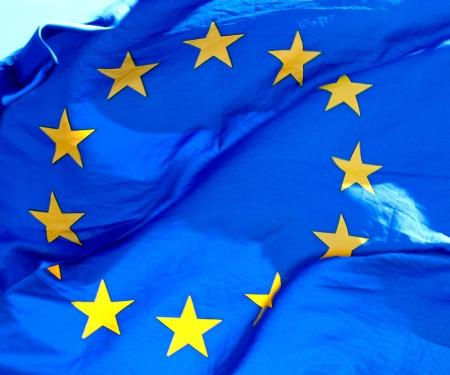 polity: A waving European Union Flag in sunlight Stock Photo
