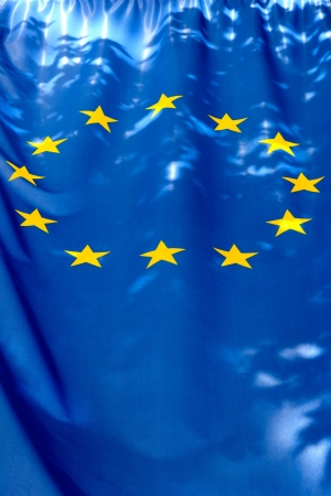 eurozone: European union flag and the shadow of the leaves Stock Photo