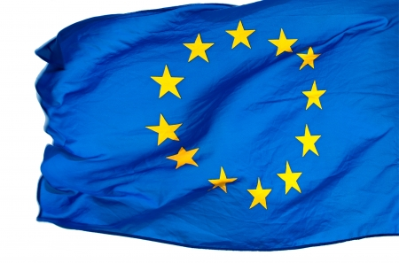 polity: EU flag in the wind on a white background