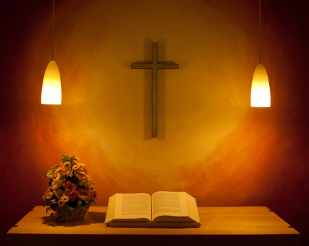 bible altar: The altar in the chapel Stock Photo
