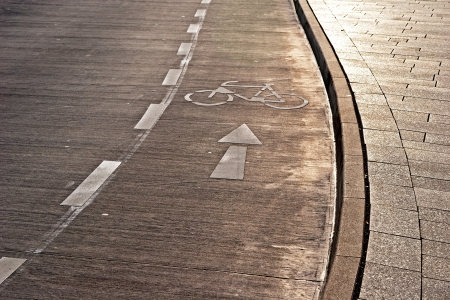 paving stone: Bicycle path and sidewalk in the sunshine