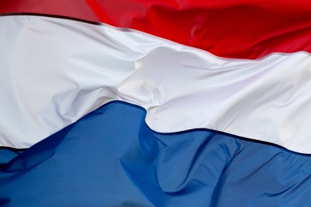 dutch flag: A Dutch flag in the wind Stock Photo