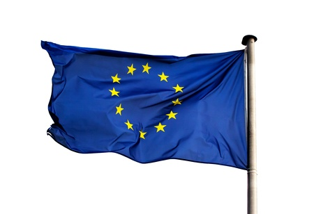 Un drapeau de l'Union européenne sur fond blanc Banque d'images