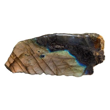 labradorite: A Labradorite mineral on a white background