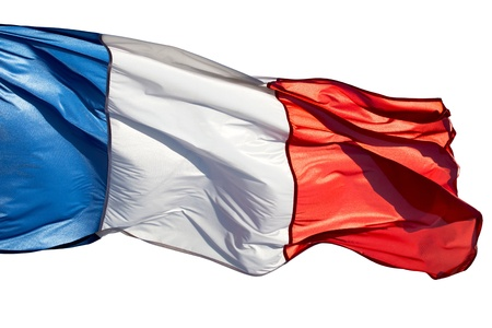 french flag: French flag in the wind on  white background
