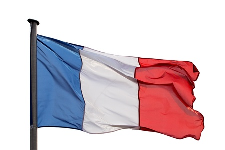 flapping: French flag on a white background in the wind