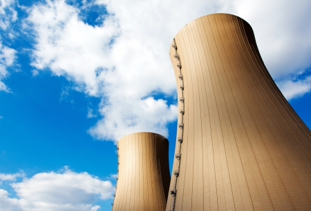 npp: Nuclear power plant against  sky and clouds Stock Photo