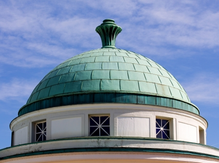 The dome roof against the blue sky in town Bad Pyrmont in Germany