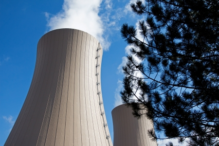 Tree branches against a nuclear power plant Stock Photo - 21276007