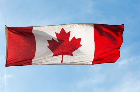 Canadian Flag in the wind against the sky photo
