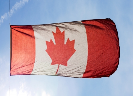 Canadian Flag in wind against the sky photo