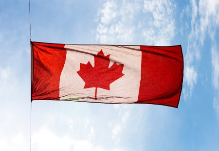 The Canadian Flag in the wind against the sky photo