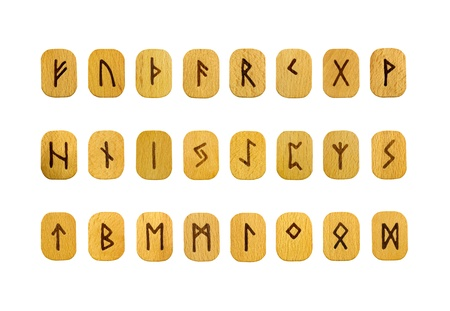 ideograph: Futhark runes on wooden tablets on white background