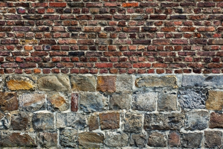 horizontal position: Stone brick wall in a horizontal position