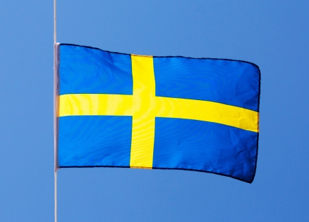 Swedish flag in the wind against the sky photo