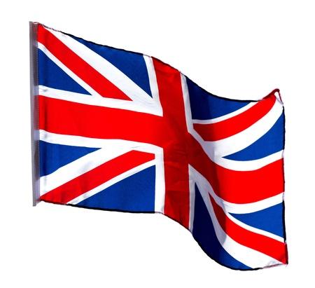 drapeau anglais: Drapeau anglais dans le vent sur un fond blanc