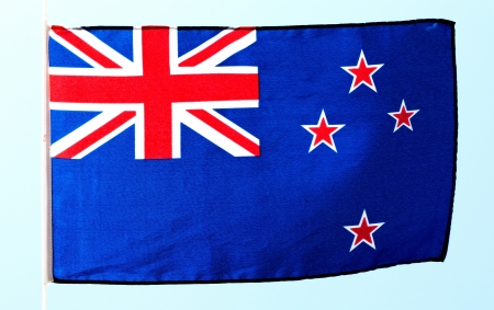 Flag of New Zealand against the sky photo