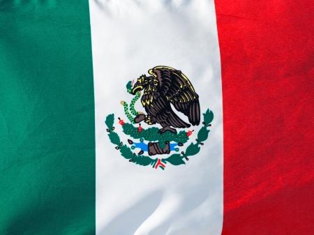 bandera mexicana: Bandera mexicana en la luz del sol de cerca