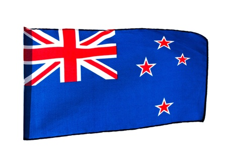 New Zealand flag in the wind on a white background photo