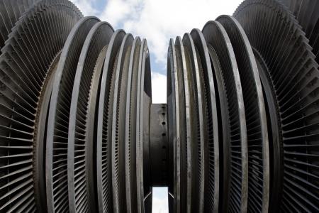 steam turbine: Steam turbine of nuclear power plant against the sky Stock Photo