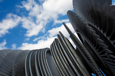 propel: Steam turbine of nuclear power plant against the sky Stock Photo