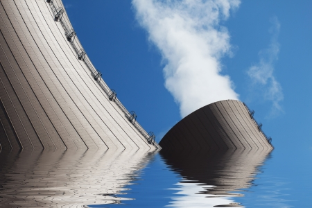 A flooded nuclear power plant Conceptual image photo