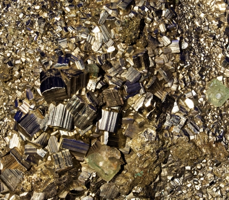 pyrite: The crystals of pyrite close-up
