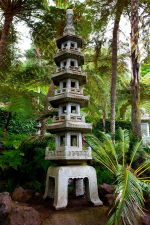 Japanese Pagoda In A Tropical Garden Stock Photo, Picture And ...