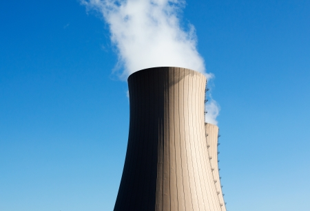 Cooling towers of nuclear power plant against the blue sky Stock Photo - 22412011
