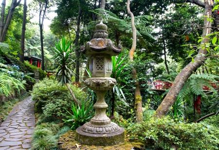 Japanese lantern in the tropical garden in Madeira photo