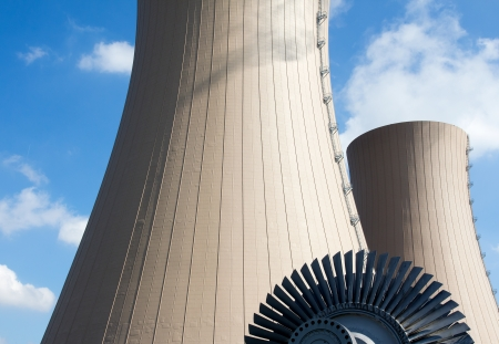 nuclear energy: Steam turbine against nuclear power plant. Conceptual image of nuclear energy Stock Photo