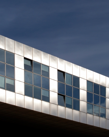 Modern metallic architecture against  blue sky Stock Photo