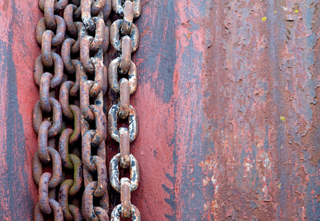 Old rusty chains on the rotor photo