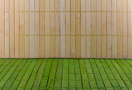 straw mat: Wall and floor of the straw mat Stock Photo