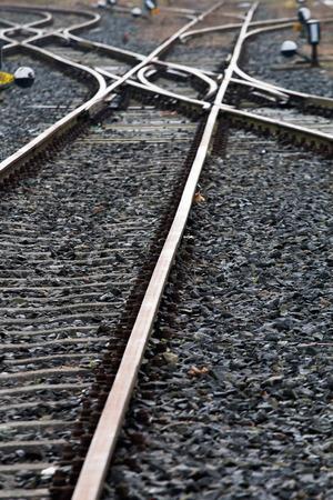sleepers: Railroad crossing on gravel Stock Photo
