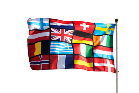 Pan European flag against on the white background photo