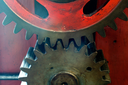 Pinion gear for mechanical machine in a factory Stock Photo