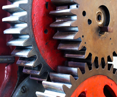 Pinion gear of mechanical machine in a factory photo