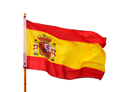 spanish flag: Spanish flag in the wind isolated on white background Stock Photo