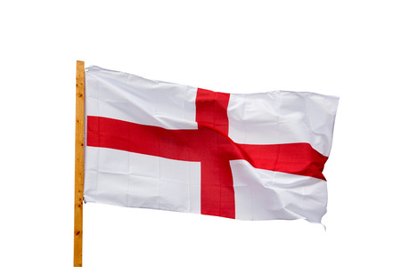 England flag in the wind isolated on white background photo
