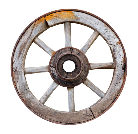 Old wooden wheel on a white background