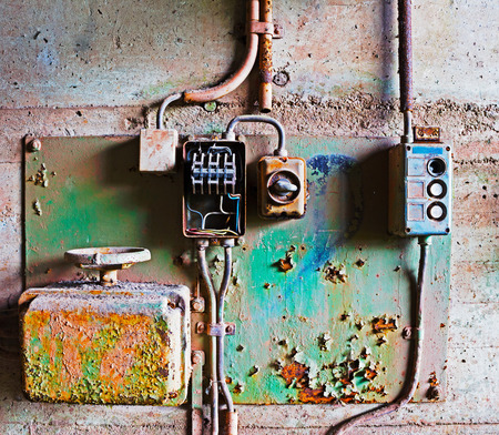 electrical panel: Old electrical panel on a concrete wall Stock Photo