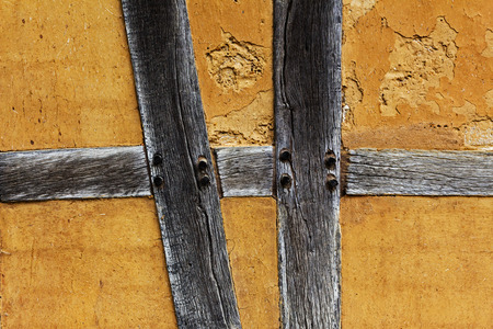 half timbered house: Old adobe wall of the half timbered house