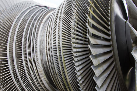nuclear power plant: Steam turbine of nuclear power plant in sunlight Stock Photo