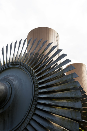 steam turbine: Steam turbine against nuclear power plant Conceptual image of nuclear energy