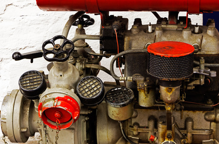 carburettor: Mechanical parts of the old  engine Stock Photo