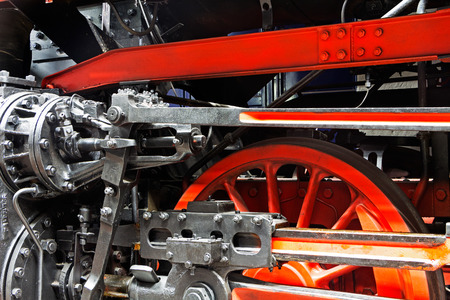 Wheels  of the old locomotive on the rails photo