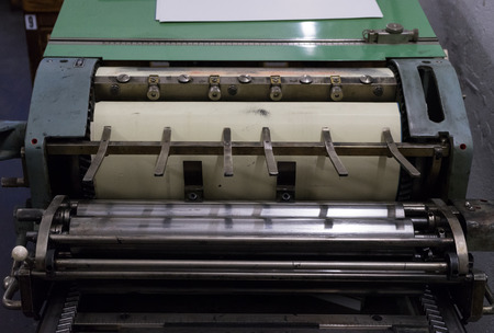 platen: A fragment of the old machine in printing house
