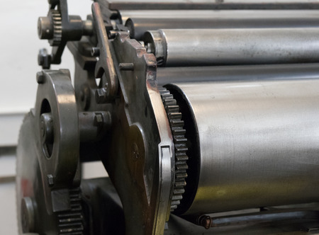 platen: Gears of the old machine in a printing house