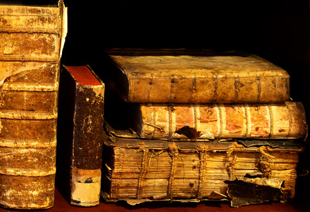 ancient books: Old and ancient books on the shelf